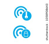 hotspot wifi icon with protect... | Shutterstock .eps vector #1058908643