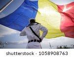 a romanian military sailor... | Shutterstock . vector #1058908763