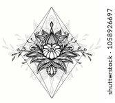 abstract zen tangle zen doodle  ... | Shutterstock .eps vector #1058926697