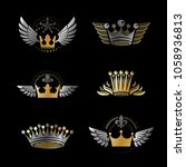 majestic crowns and ancient... | Shutterstock .eps vector #1058936813