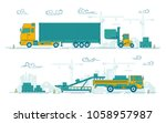 graphic of loading truck and... | Shutterstock .eps vector #1058957987