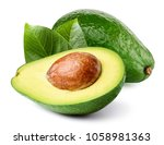 avocado with leaf isolated on... | Shutterstock . vector #1058981363