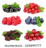 Collection of sweet berries on white - stock photo