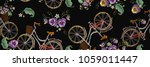 embroidery bicycle with basket... | Shutterstock .eps vector #1059011447