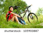 happy young woman riding... | Shutterstock . vector #105903887