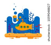 yellow submarine with periscope ... | Shutterstock .eps vector #1059048827