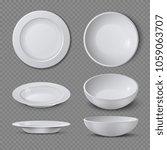 white empty ceramic plate in... | Shutterstock . vector #1059063707