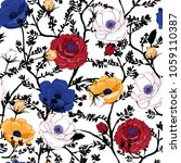 blooming floral pattern in the... | Shutterstock .eps vector #1059110387
