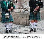 scottish bagpipers duet | Shutterstock . vector #1059118973