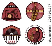 vintage colored live jazz music ... | Shutterstock .eps vector #1059141377