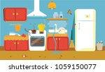 illustration of dirty kitchen. | Shutterstock .eps vector #1059150077