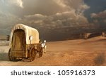 old wagon in the desert | Shutterstock . vector #105916373