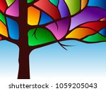 dark wood with colored stained... | Shutterstock .eps vector #1059205043