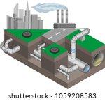 water main system. urban... | Shutterstock .eps vector #1059208583