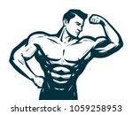 gym  bodybuilding sport concept.... | Shutterstock .eps vector #1059258953