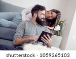 young couple sitting in the...   Shutterstock . vector #1059265103