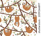 Stock vector seamless tropical pattern with funny sloths hanging on the tree includes mother with baby adorable 1059266897