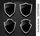 Vector Set Of Black Shields On...