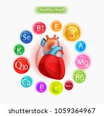healthy heart. vitamins and... | Shutterstock .eps vector #1059364967