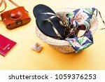 summer vacation set on yellow... | Shutterstock . vector #1059376253