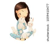 cute girl with hares | Shutterstock . vector #1059410477