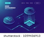 Stock vector mining bitcoin and ethereum crypto currency mining server farm room video card data processing 1059436913