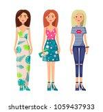 three cute ladies in vogue...   Shutterstock .eps vector #1059437933