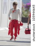 VALENCIA, SPAIN - JUNE 23: Fernando Alonso in the Formula 1 Grand Prix of Europe, Valencia Street Circuit. Spain on June 23, 2012 - stock photo