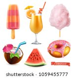 Summer, sweet food. Ice cream, orange juice, cotton candy, cocktail, watermelon, donut. 3d realistic vector icon set | Shutterstock vector #1059455777