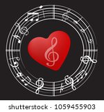 music note back ground with... | Shutterstock .eps vector #1059455903