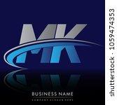 initial letter mk logotype...   Shutterstock .eps vector #1059474353