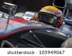 VALENCIA, SPAIN - JUNE 23: Lewis Hamilton in the Formula 1 Grand Prix of Europe, Valencia Street Circuit. Spain on June 23, 2012 - stock photo