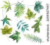 watercolor set of spring leaves | Shutterstock . vector #1059507497