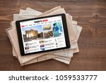 tablet with news website on... | Shutterstock . vector #1059533777