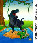 tyrannosaurus on the background ... | Shutterstock .eps vector #1059539237
