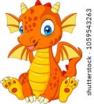 cartoon young dragon sitting | Shutterstock .eps vector #1059543263