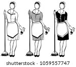 maid or cleaning lady  line... | Shutterstock .eps vector #1059557747