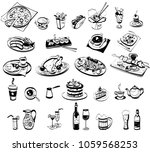 linear drawing of various food... | Shutterstock .eps vector #1059568253