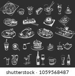 linear drawing of various food... | Shutterstock .eps vector #1059568487