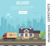 shopping and delivery concept... | Shutterstock .eps vector #1059574073