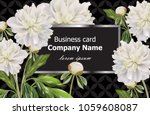 business card with white peony...   Shutterstock .eps vector #1059608087