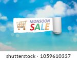 Small photo of Ripped paper with text of Monsoon sale. Monsoon sale concept