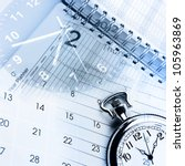 Clocks,calendar and diary pages - stock photo