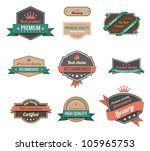 Vintage labels collection. Premium quality. Creative trendy design. Retro logo template high detail. Insignia Vector. Editable. - stock vector