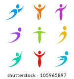 Human logo template elements. Business & Sport icon set.  Flying, levitating, tending, rushing activity. Vector. - stock vector