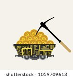 bitcoin mining with pickaxe | Shutterstock .eps vector #1059709613