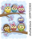 seven cute owls is sitting on a ... | Shutterstock .eps vector #1059722303