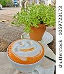 latte art smile face of hot...   Shutterstock . vector #1059723173