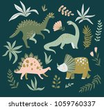 hand drawn dinosaurs   tropical ... | Shutterstock .eps vector #1059760337