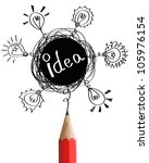 Red pencil with abstract speech bubbles and bulbs idea concept isolated on white background. - stock photo